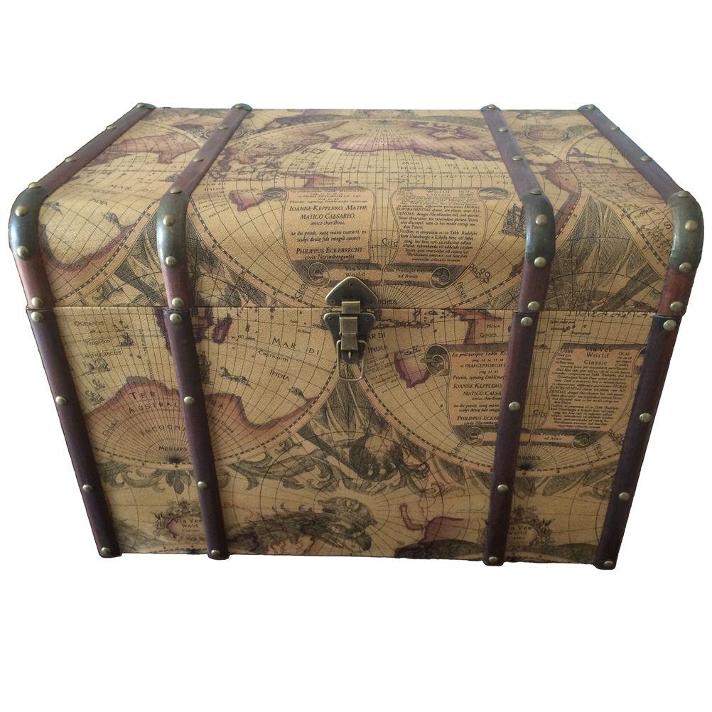 coffre rangement mobilier bois d 233 co mappemonde r 233 tro