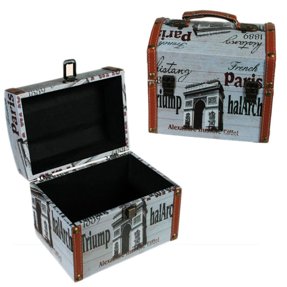 coffret de rangement vintage malle ancienne th me paris. Black Bedroom Furniture Sets. Home Design Ideas