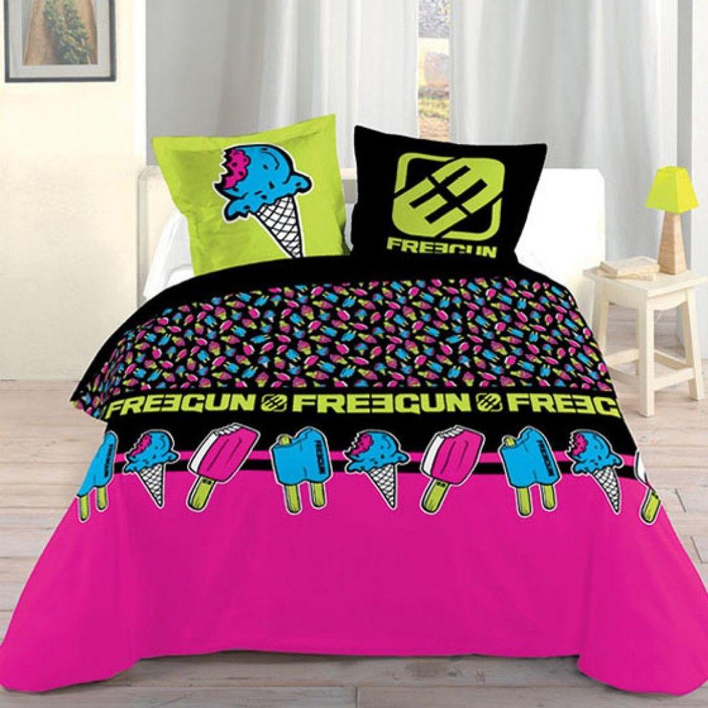 housse de couette parure de lit 140 x 200 cm enfant fille literie linge de maison freegun cream. Black Bedroom Furniture Sets. Home Design Ideas