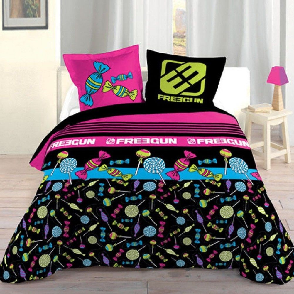 housse de couette parure de lit 140 x 200 cm enfant fille literie linge de maison freegun sweeties. Black Bedroom Furniture Sets. Home Design Ideas