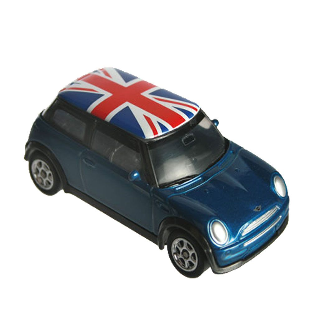 voiture mini cooper miniature bleue union jack. Black Bedroom Furniture Sets. Home Design Ideas