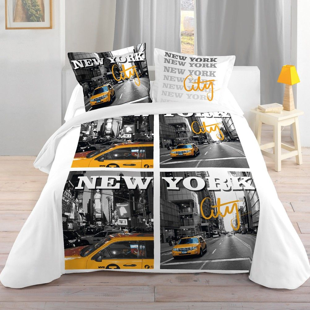 parure de lit new york city cabs 240 x 220 cm. Black Bedroom Furniture Sets. Home Design Ideas
