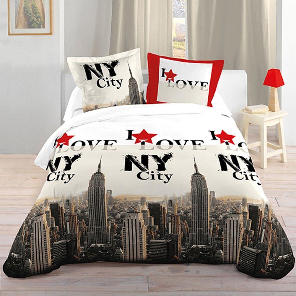 Housse de couette parure de lit 140 x 200 cm enfant fille literie linge de maison usa i love new yor - Housse de couette new york 1 place ...