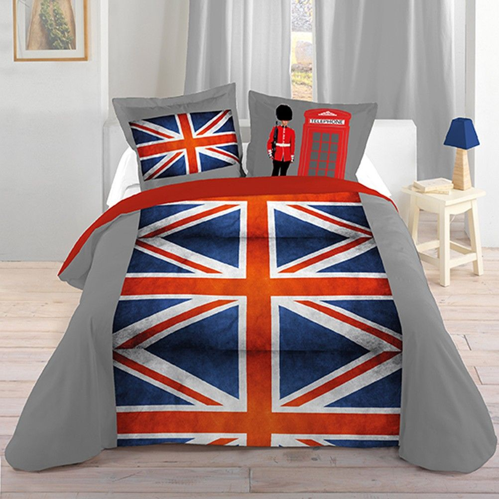 housse de couette parure de lit 140 x 200 cm enfant fille literie linge de maison london union jack. Black Bedroom Furniture Sets. Home Design Ideas