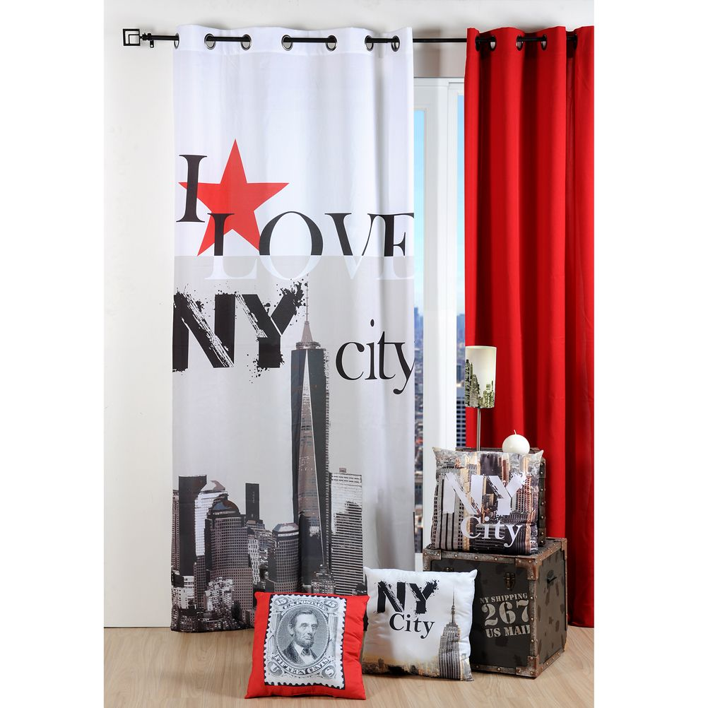 rideau oeillets usa i love new york. Black Bedroom Furniture Sets. Home Design Ideas