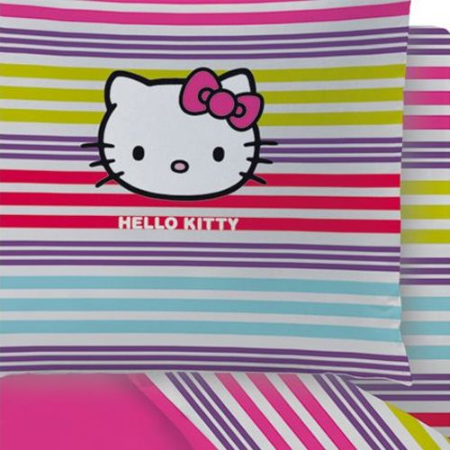 Drap housse hello kitty sarah summer 2 places - Drap housse 70x140 hello kitty ...