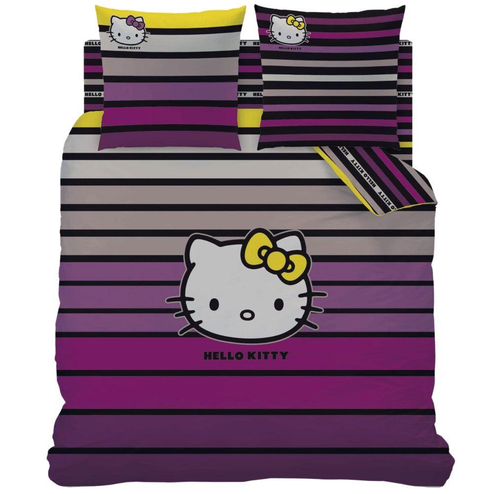 Housse de couette hello kitty stripes manon et deux taies for Housse couette hello kitty