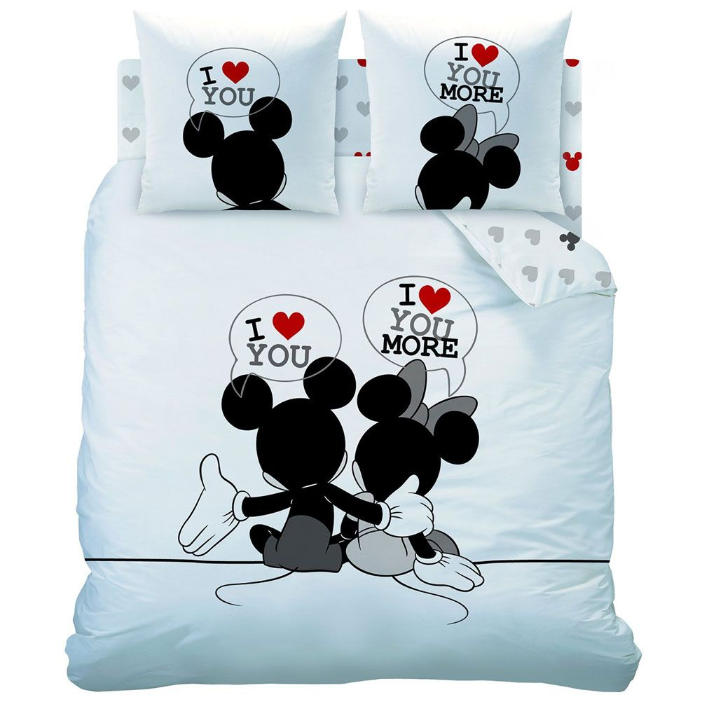 parure de lit disney mickey et minnie the end 240 x 220 cm. Black Bedroom Furniture Sets. Home Design Ideas