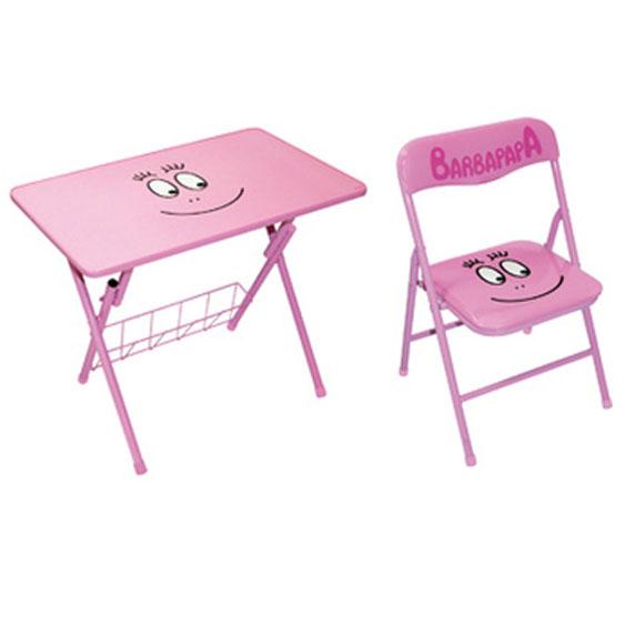 Ensemble table d 39 activit et chaise pliante enfant barbapapa for Table d activite pour bebe