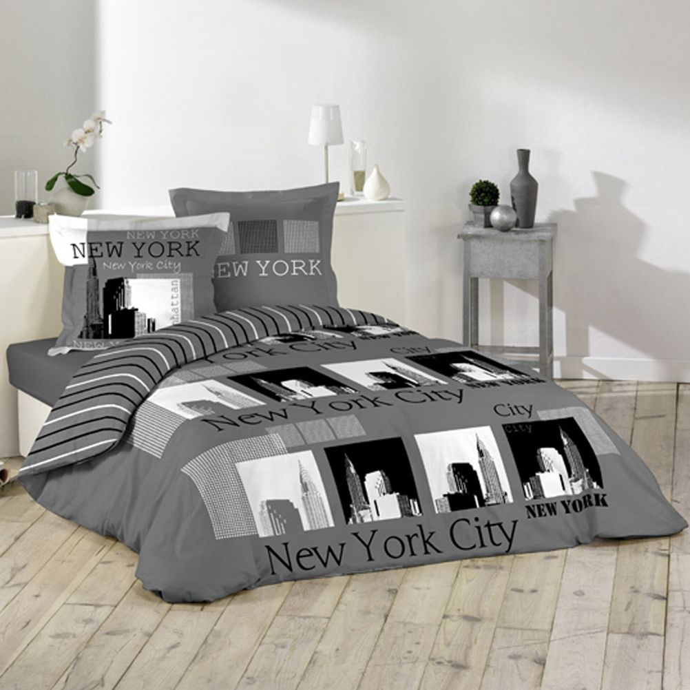 parure de lit new york city urban pop 240 x 220 cm. Black Bedroom Furniture Sets. Home Design Ideas