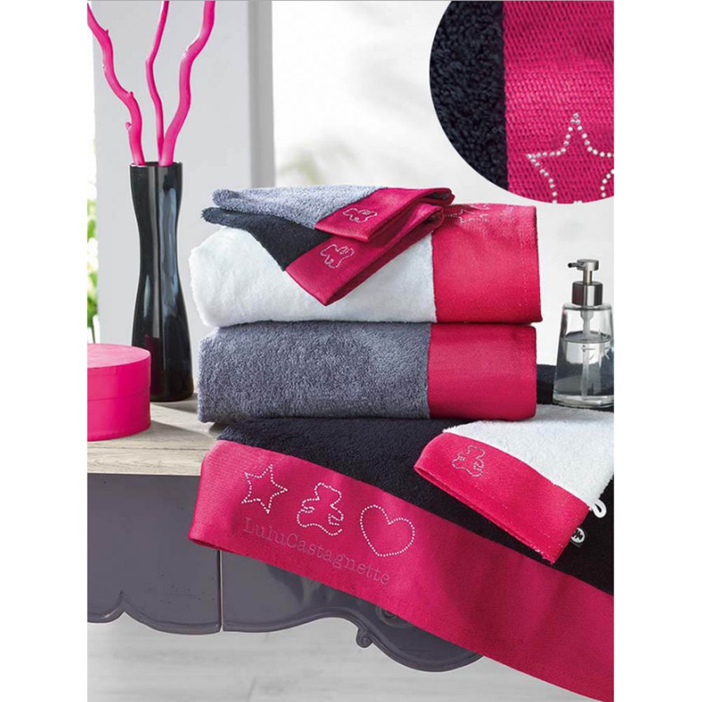 serviette bain plage drap toilette lulu castagnette lulu strass noir. Black Bedroom Furniture Sets. Home Design Ideas