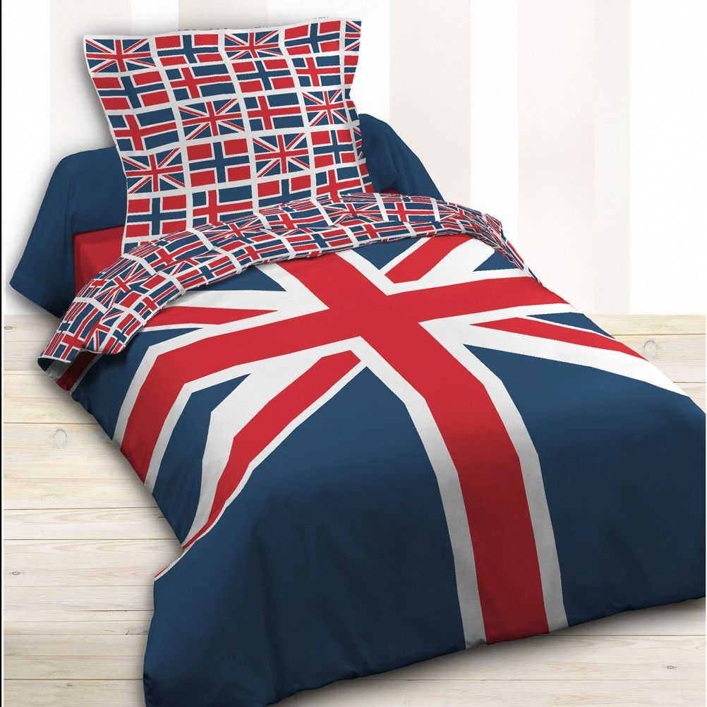 housse de couette parure de lit 140 x 200 cm enfant fille literie linge de maison union jack flag 14. Black Bedroom Furniture Sets. Home Design Ideas