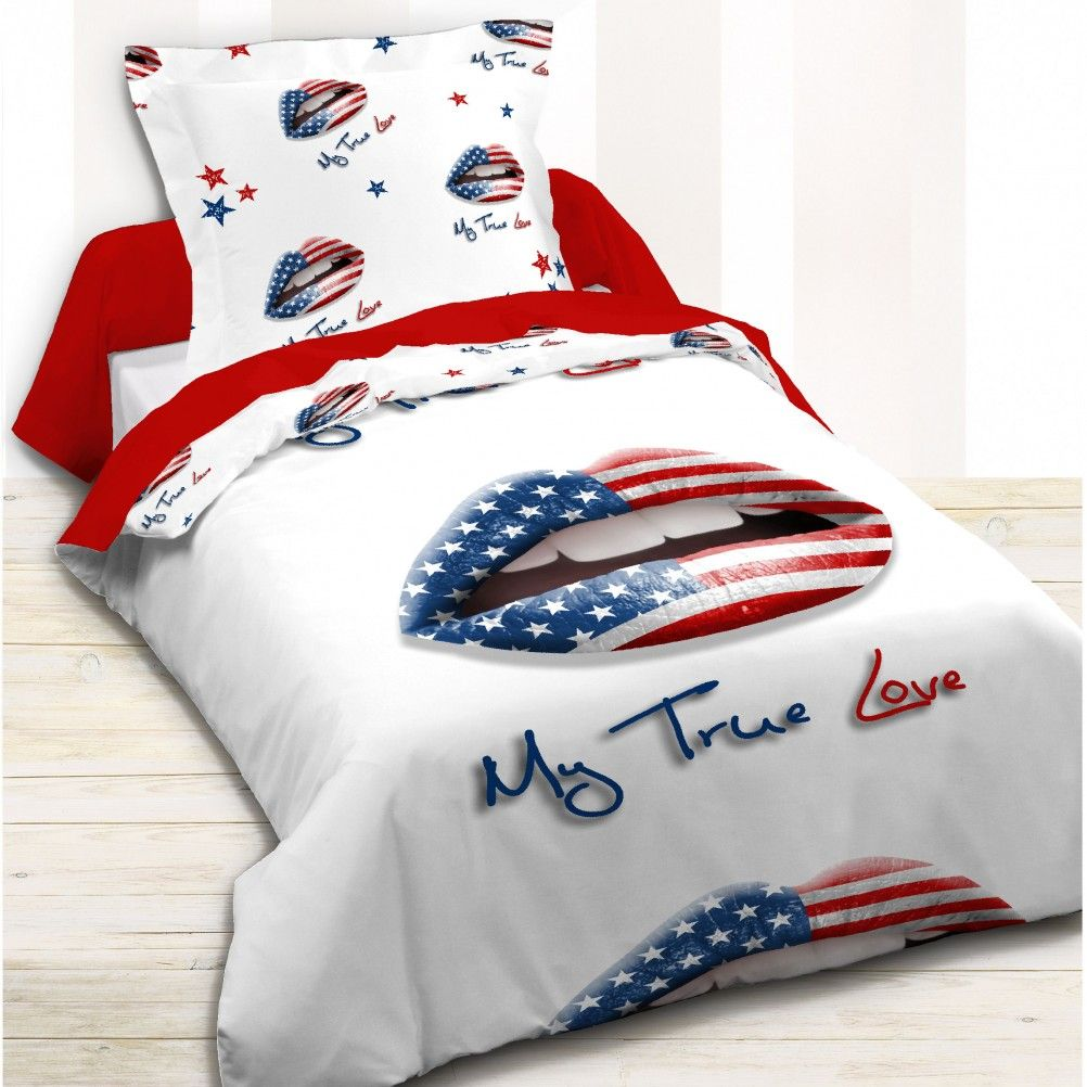 housse de couette parure de lit 140 x 200 cm enfant fille literie linge de maison usa my true love 1. Black Bedroom Furniture Sets. Home Design Ideas