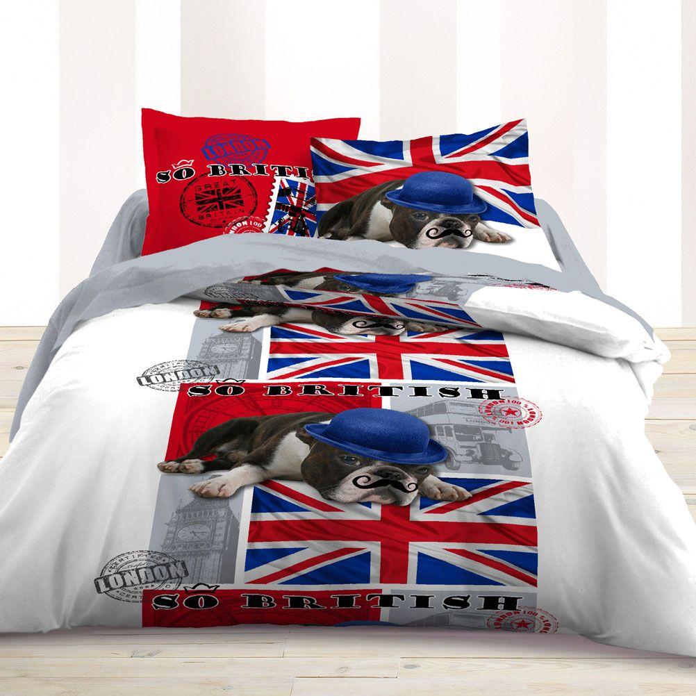 parure de lit enjoy british dog 220 x 240 cm. Black Bedroom Furniture Sets. Home Design Ideas