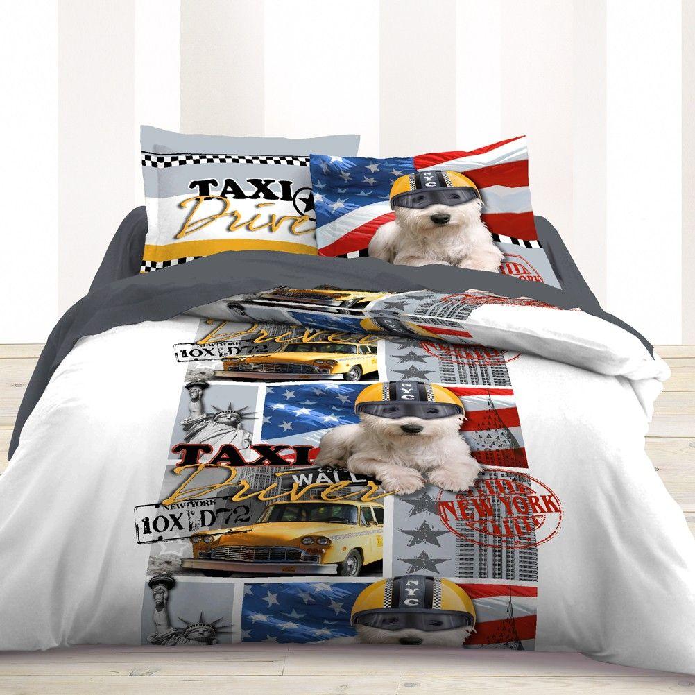 parure de lit usa taxi driver 220 x 240 cm. Black Bedroom Furniture Sets. Home Design Ideas