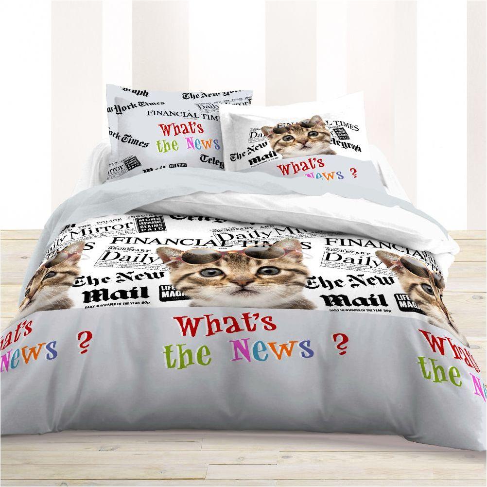 parure de lit chat what 39 s the news 220 x 240 cm. Black Bedroom Furniture Sets. Home Design Ideas