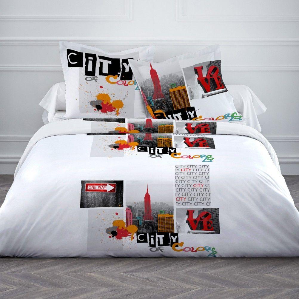 housse de couette parure de lit 220 x 240 cm enfant fille literie linge de maison new york colors. Black Bedroom Furniture Sets. Home Design Ideas