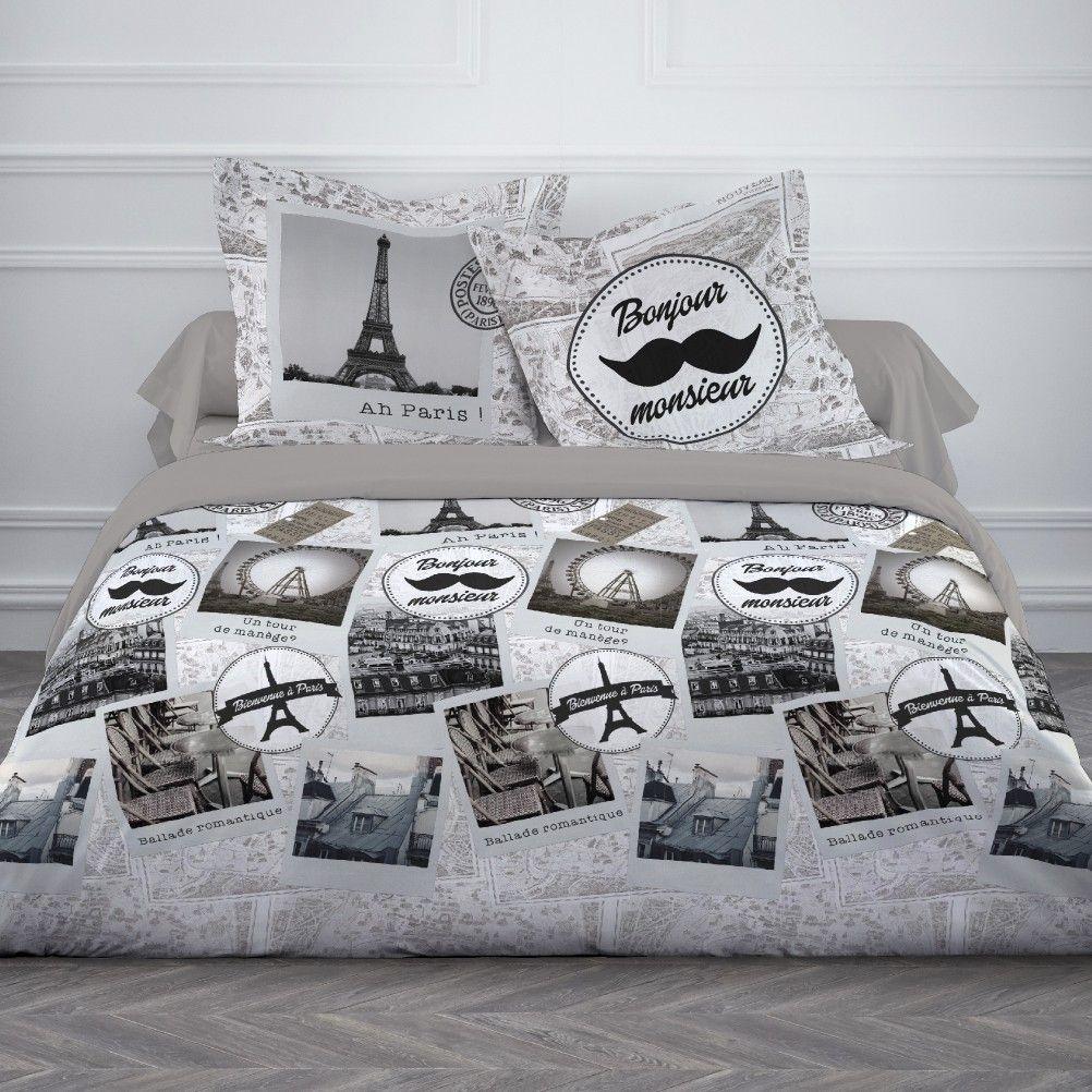 housse de couette parure de lit 220 x 240 cm enfant fille literie linge de maison bonjour paris 240. Black Bedroom Furniture Sets. Home Design Ideas