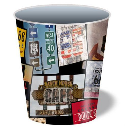 Corbeille papier en m tal route 66 gazoline - Corbeille a papier metal ...