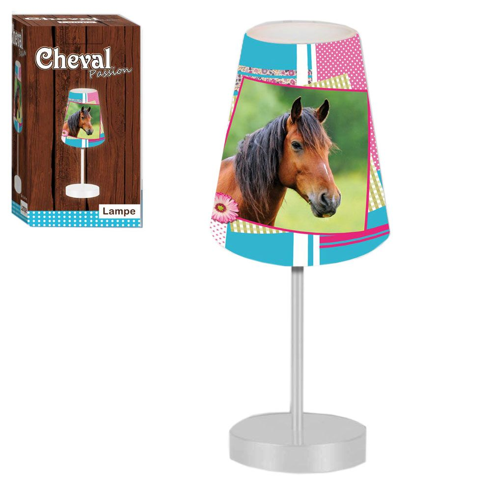 lampe de chevet cheval patchwork sur pied. Black Bedroom Furniture Sets. Home Design Ideas