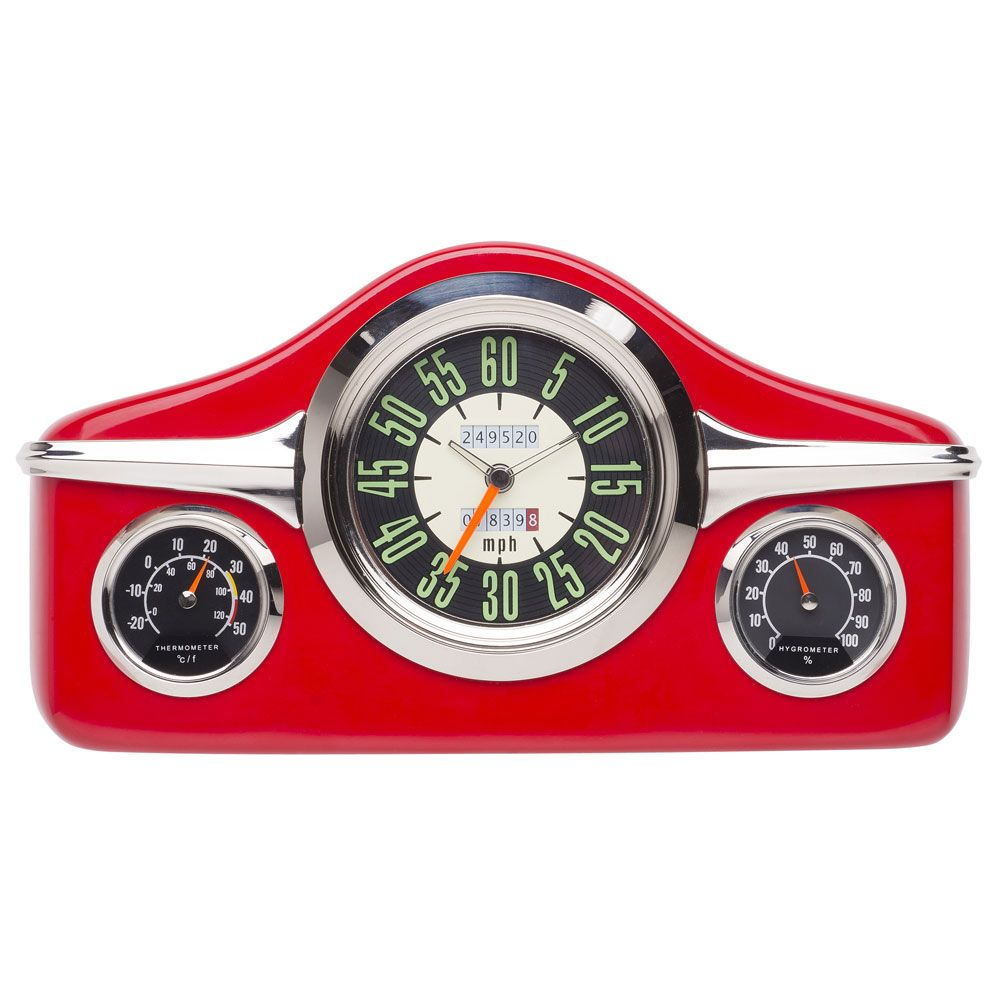 horloge decoration pendule murale original design tableau de bord de voiture rouge