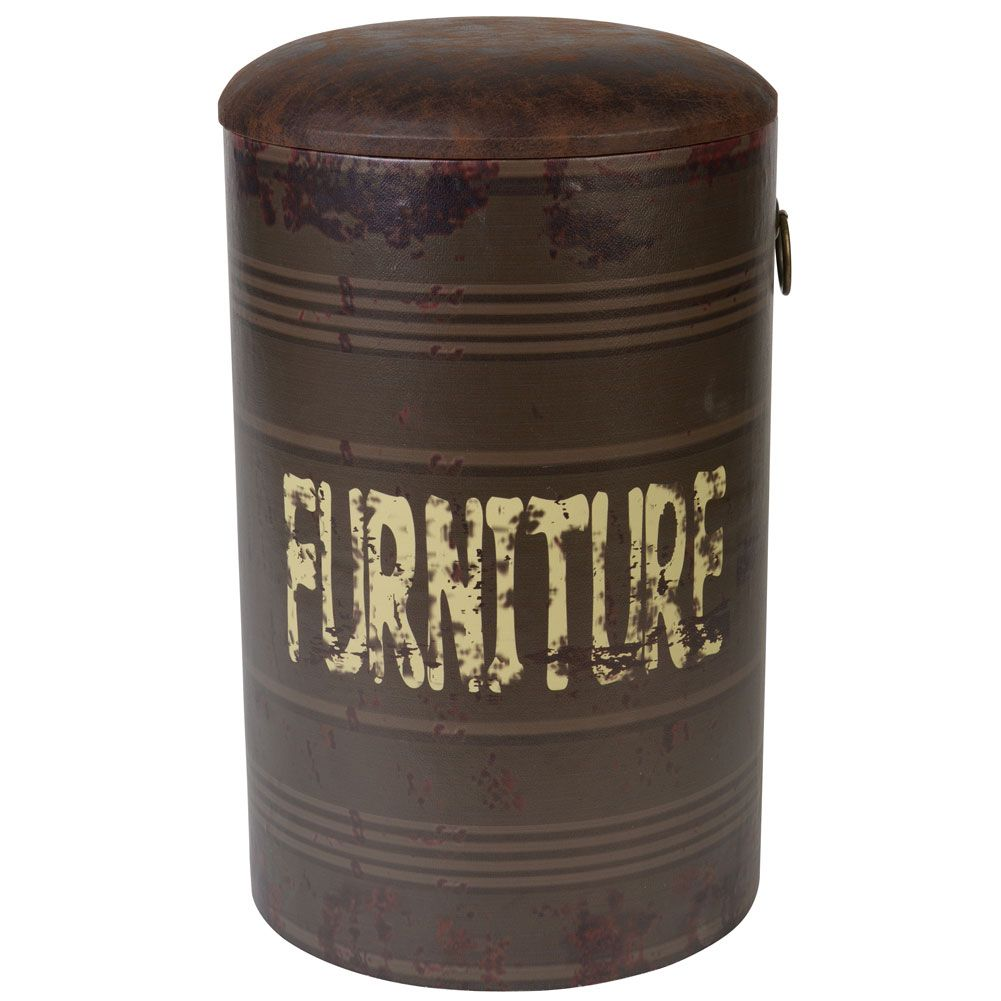 Pouf tabouret chaise bureau chambre mobilier r tro baril noir fa on cuir vieilli et bois for Pouf cuir vieilli