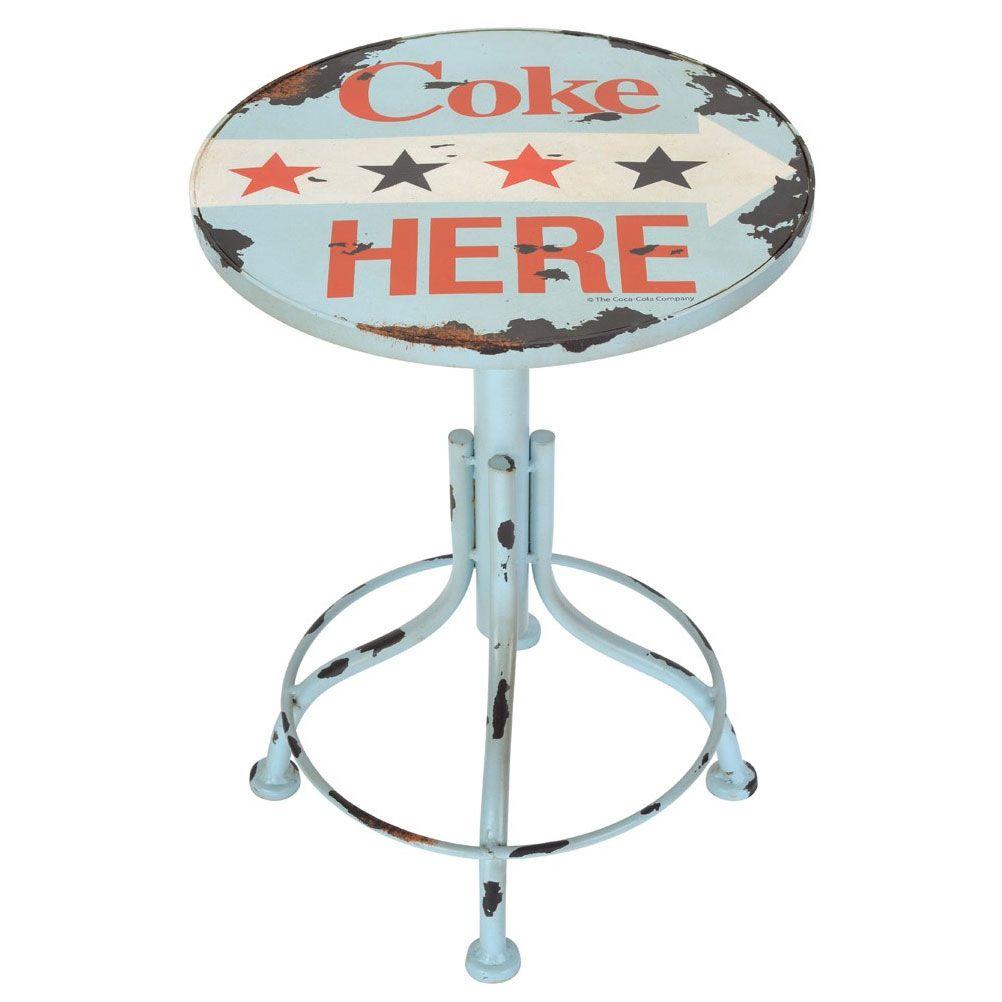 tabouret chaise bureau mobilier enfant fauteuil r tro coca cola coke here americana. Black Bedroom Furniture Sets. Home Design Ideas