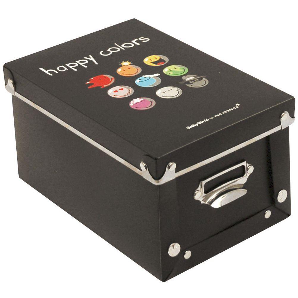 petite boite de rangement happy colors noir smiley world. Black Bedroom Furniture Sets. Home Design Ideas