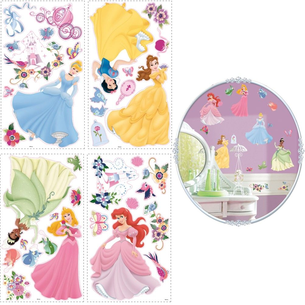 stickers muraux repositionnables disney princesses. Black Bedroom Furniture Sets. Home Design Ideas