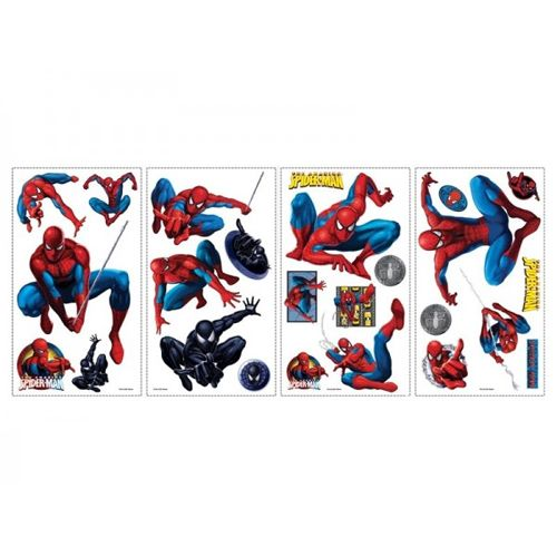 planche de 25 stickers muraux repositionnables spiderman. Black Bedroom Furniture Sets. Home Design Ideas