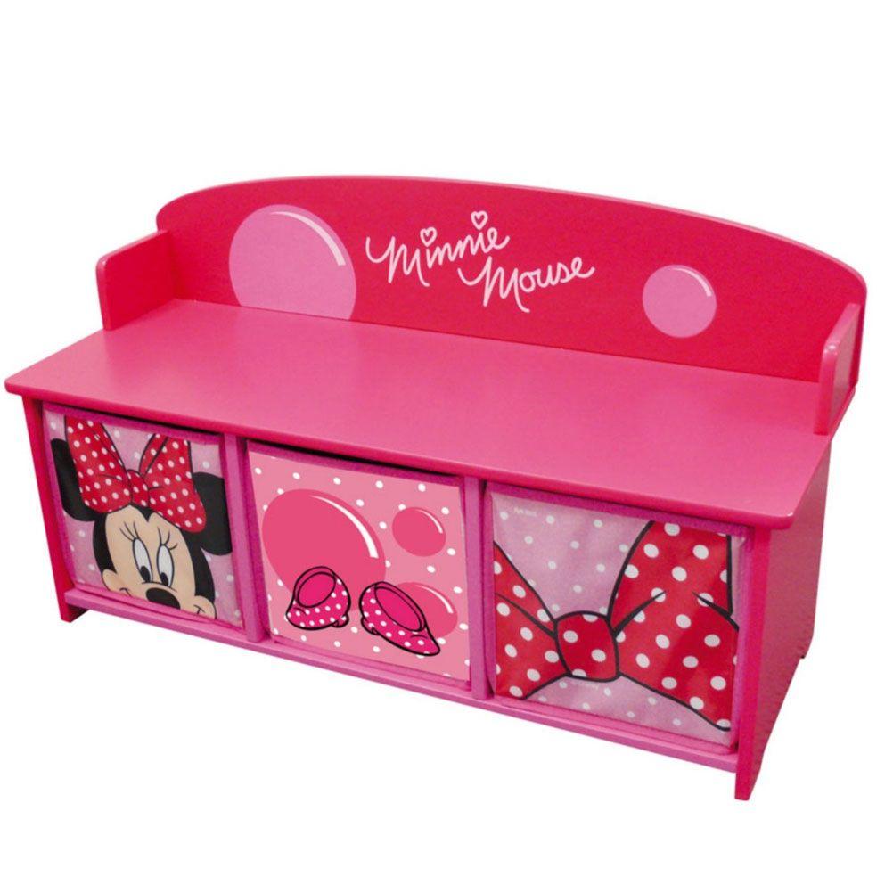 banc en bois avec trois bacs de rangement disney minnie mouse. Black Bedroom Furniture Sets. Home Design Ideas