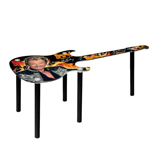 Table basse en bois johnny hallyday guitare orange for Table basse orange