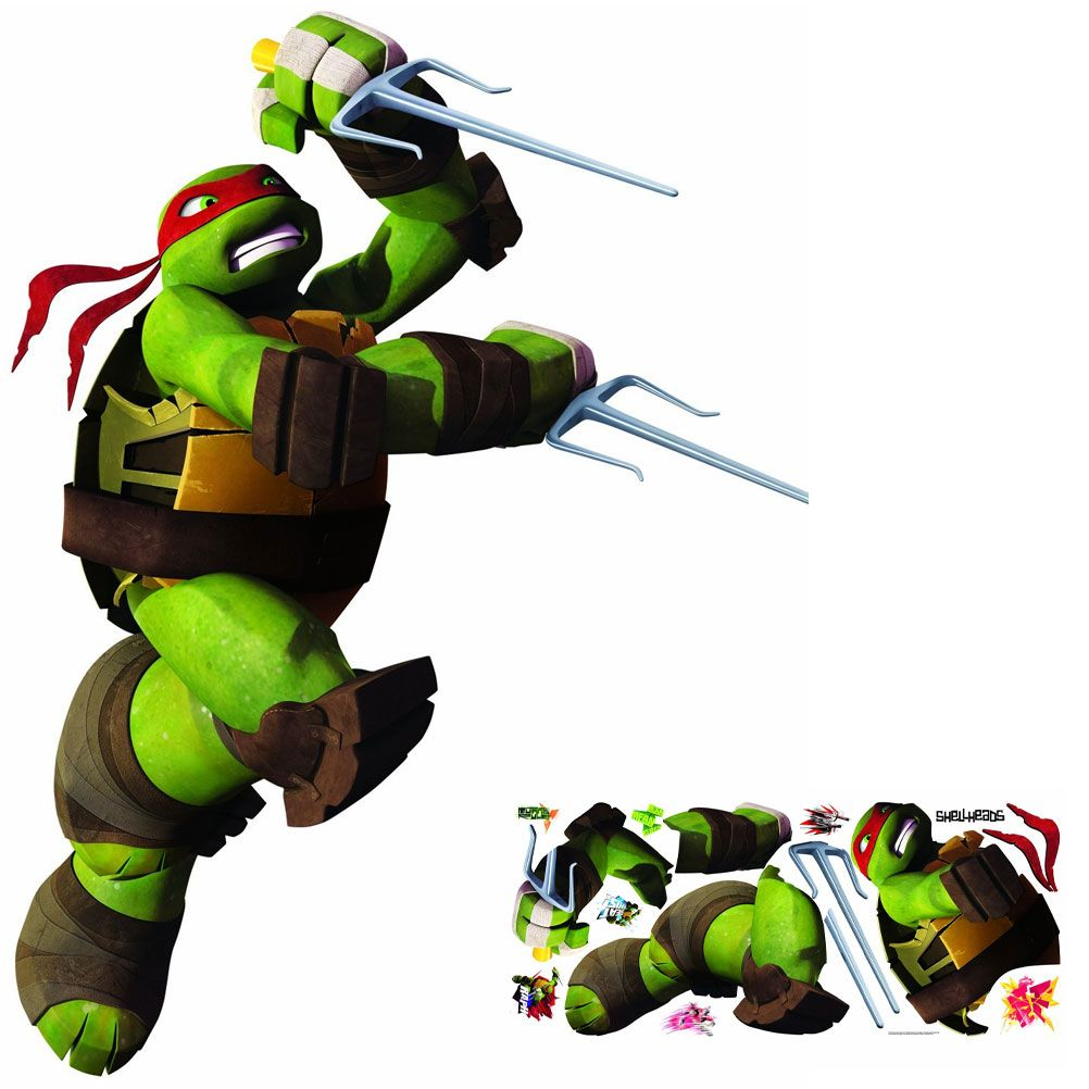 Sticker mural g ant repositionnable tortues ninja raphael - Tortue ninja raphaelo ...