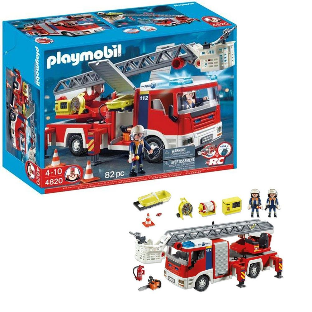 grand camion de pompier lectronique playmobil. Black Bedroom Furniture Sets. Home Design Ideas