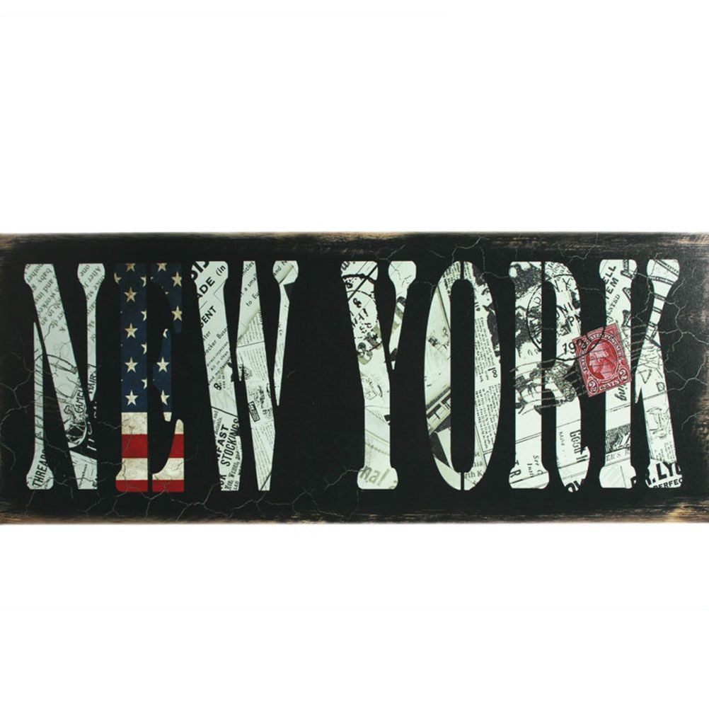 cadre rectangulaire en bois new york usa flag. Black Bedroom Furniture Sets. Home Design Ideas