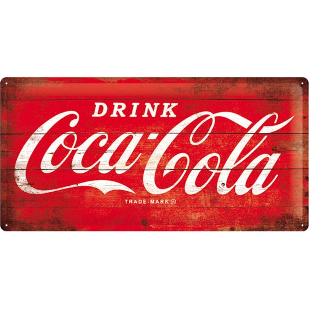 grande plaque m tal coca cola red wood 50 x 25 cm. Black Bedroom Furniture Sets. Home Design Ideas