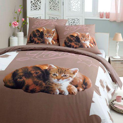 parure de lit love pets. Black Bedroom Furniture Sets. Home Design Ideas