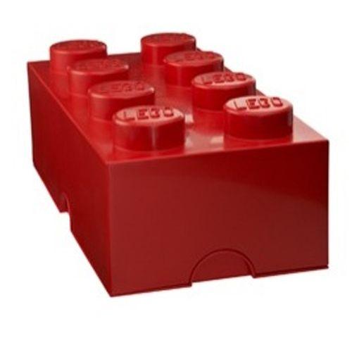 Boite lego rouge 8 plots coffre de rangement empilable for Maison rouge boite de nuit