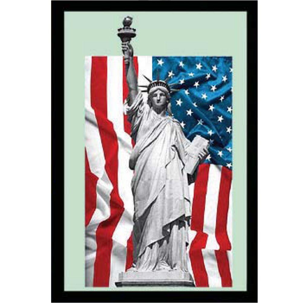 Miroir d coration murale new york usa statue de la libert for Miroir new york