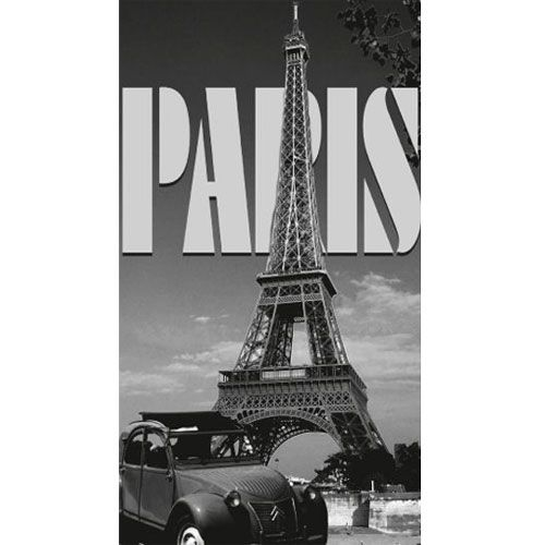 drap de bain paris tour eiffel et 2 cv 100 x 180 cm. Black Bedroom Furniture Sets. Home Design Ideas
