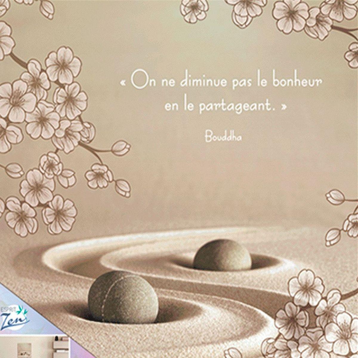 Cadre En Bois Citation Bouddha Zen 40 X 40 Cm Le Bonheur