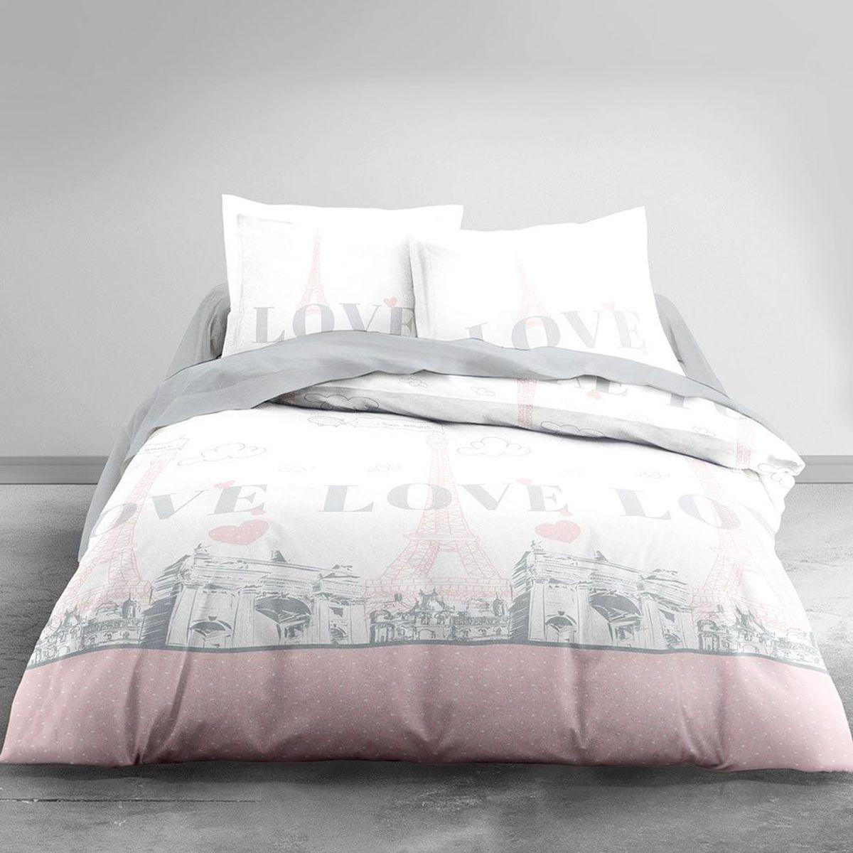 housse de couette paris my love et 2 taies 220 x 240 cm. Black Bedroom Furniture Sets. Home Design Ideas