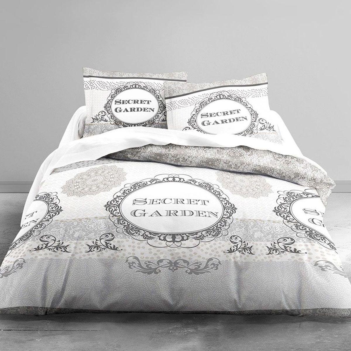 housse de couette secret garden et 2 taies 220 x 240 cm. Black Bedroom Furniture Sets. Home Design Ideas