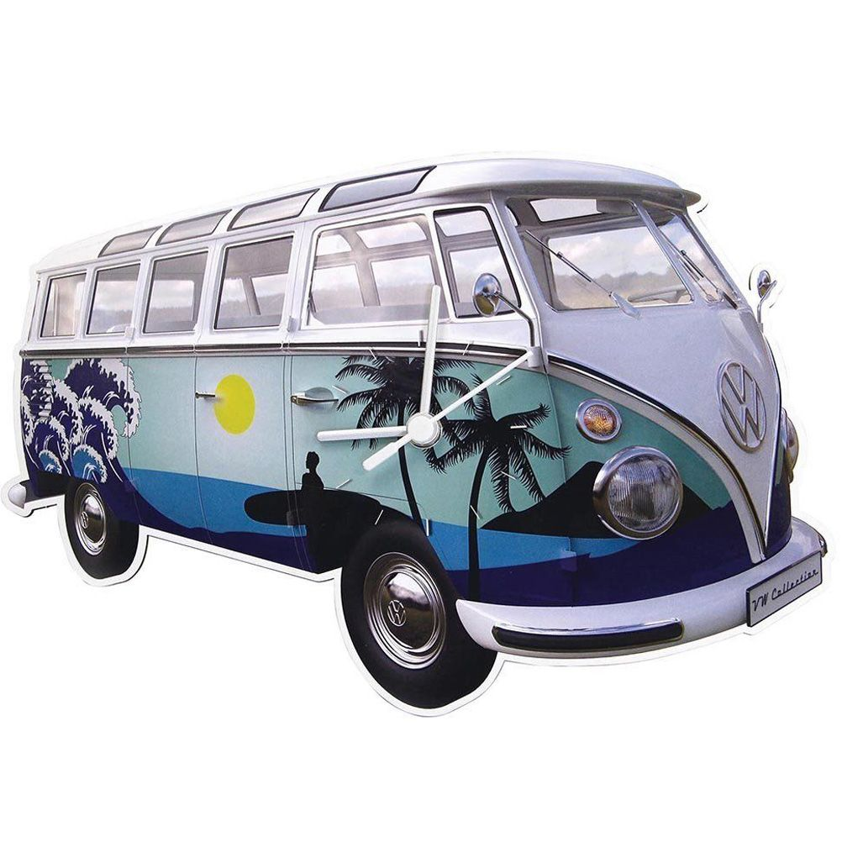 horloge decoration pendule design horloge volkswagen combi bleu surf. Black Bedroom Furniture Sets. Home Design Ideas