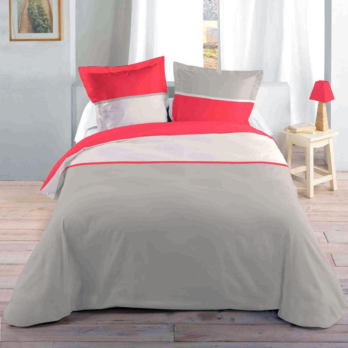 housse de couette parure de lit housse de couette housse de couette couleur corail et beige 2 taies. Black Bedroom Furniture Sets. Home Design Ideas
