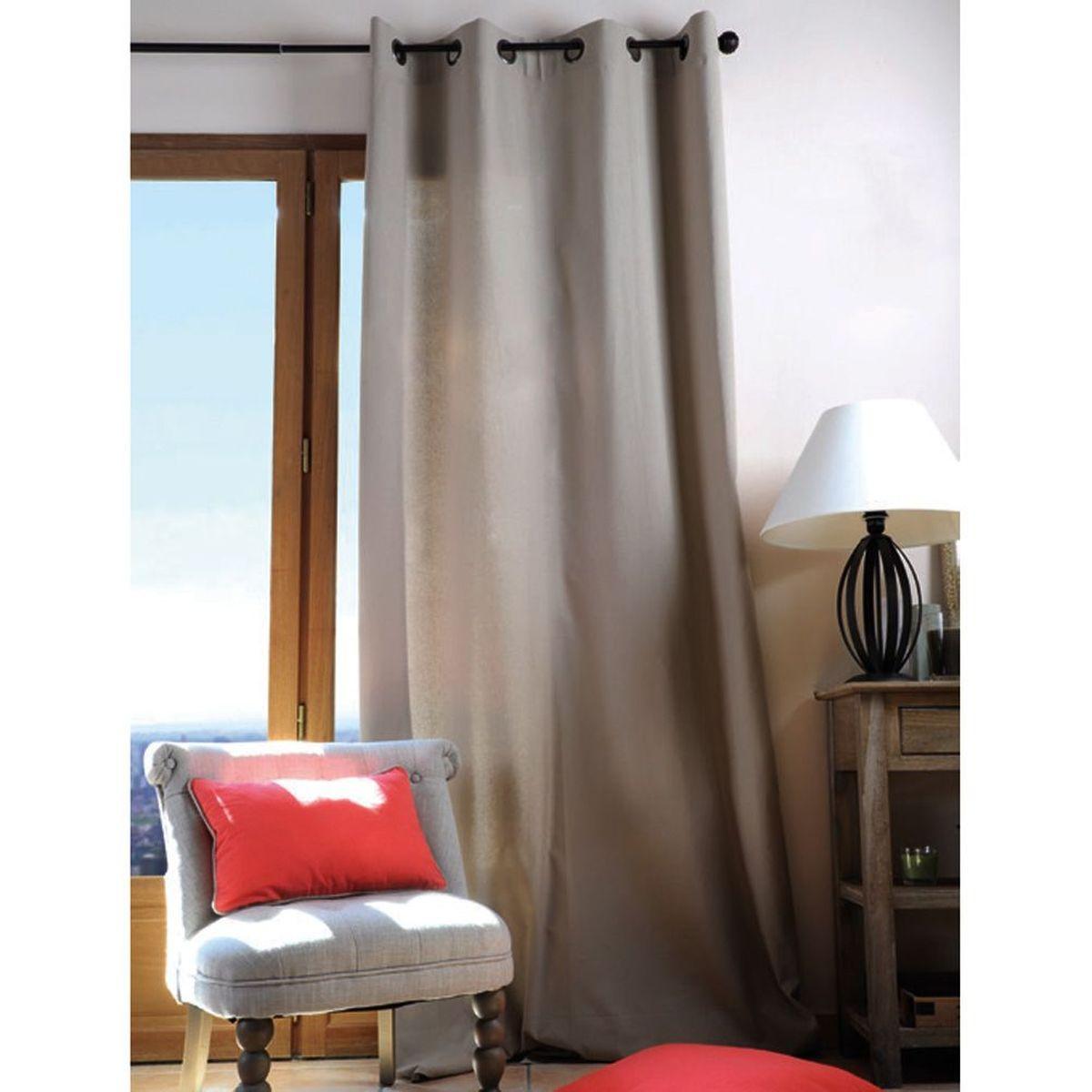 rideau oeillets en coton couleur lin 135 x 240 cm. Black Bedroom Furniture Sets. Home Design Ideas