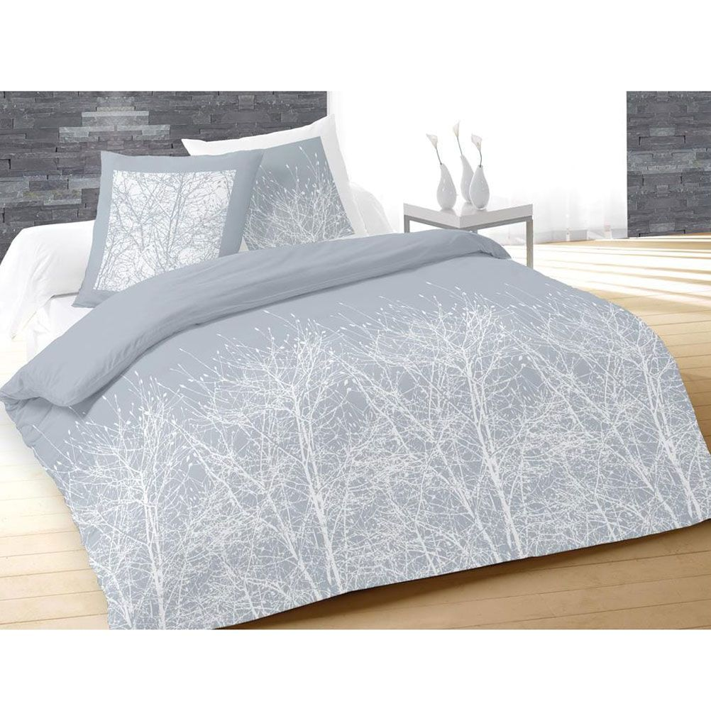 housse de couette parure de lit housse de couette forest bleu gris et 2 taies 220 x 240 cm. Black Bedroom Furniture Sets. Home Design Ideas