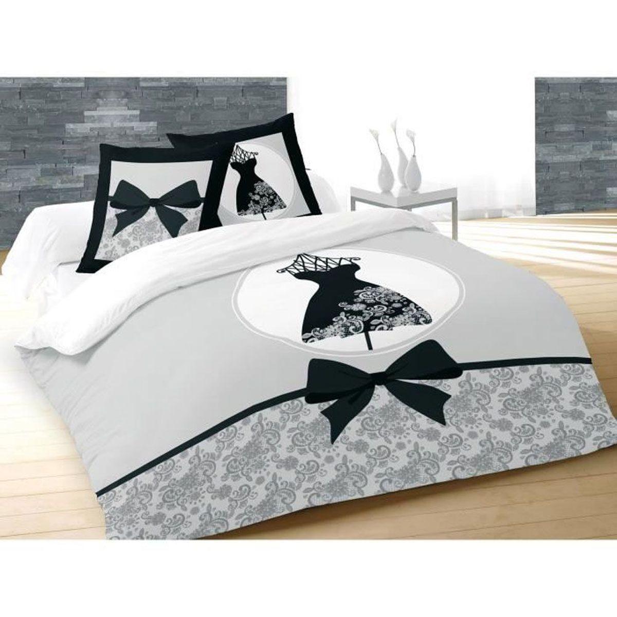 housse de couette parure de lit housse de couette la petite robe noire et 2 taies 220 x 240 cm. Black Bedroom Furniture Sets. Home Design Ideas