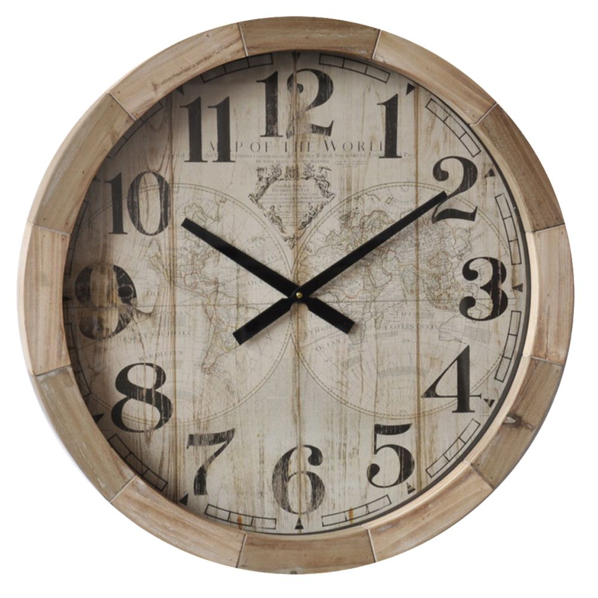 Horloge mappemonde en bois