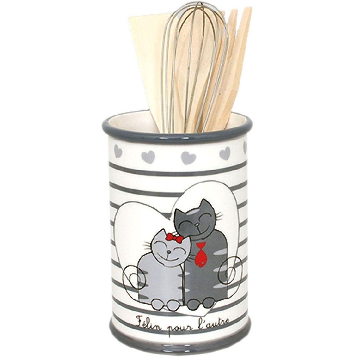 eeff0d946 Pot à ustensiles de cuisine Chats Félin pour l'autre en céramique